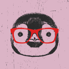 Portrait of Penguin with glasses. Hand drawn illustration. Vector