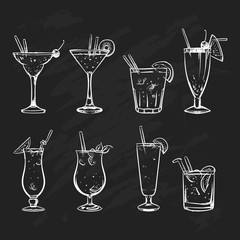 Hand drawn sketch big set of alcoholic cocktails. Vector illustr