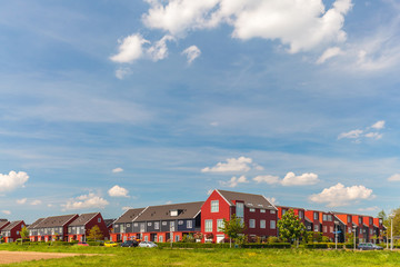 Newly built Dutch contemporary red family houses