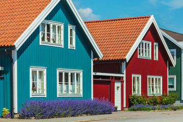 Old swedish houses in front of a blue sky