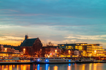 Evening view of the Dutch Maastricht city center