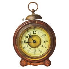 Ancient wooden alarm clock with bell
