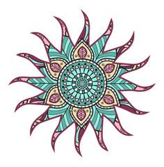Vector illustration of a colored sun, sole colorato mandala vettoriale
