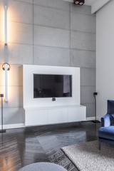 Television in grey living room
