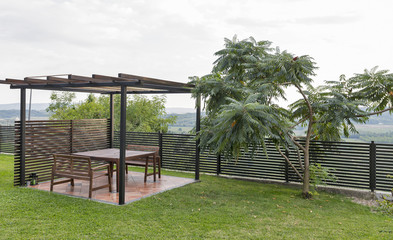 Summer modern pavilion for rest and barbecue in Slovenian mountains