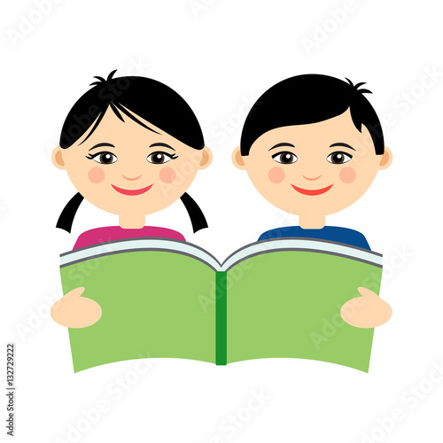 """""""Vector Illustration Of Funny Smiling Asian Girl And Boy"""