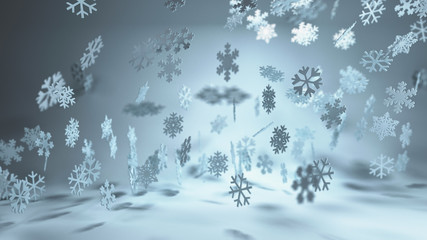 Cool blue toned winter snowflake background