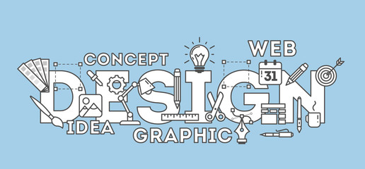 Design concept illustration on blue. Idea of making creative products. Design word with many icons as calendar, light bulb, pencils and more. Blue and wjite design.