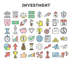 Investment icons set on white background. Colorful creative icons as piggy bank, arrows, gear, money and rocket.