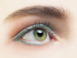 Close up photo of woman's green eye