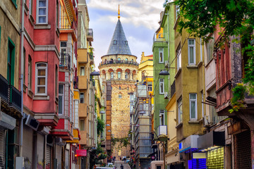 Autocollant pour porte Turquie Galata Tower in old town, Istanbul, Turkey