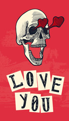 skull in love drawing with the human skull with heart eyes and open mouth.