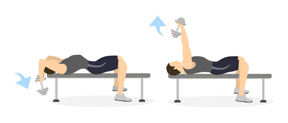 Arm exercise for men on white background. Crossfit and fitness. Dumbbell extension.