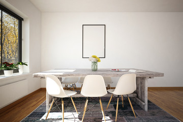 Small office conference table with white wall