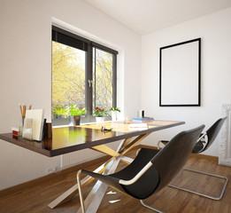 Modern neat home office interior decor