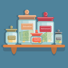 Jars with money on the shelves. Concept of savings, banking and investment.