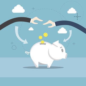 Business People Hand Piggy Bank Put Money