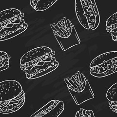 Fast food pattern including seamless on a black background. Fast