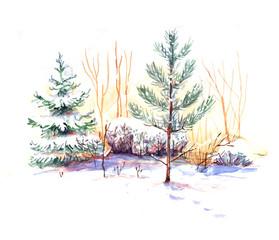 winter landscape, watercolor, seamless pattern