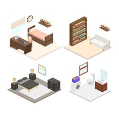 Interior office room vector flat design
