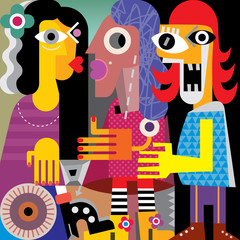 Keuken foto achterwand Abstractie Art Abstract portrait of three women