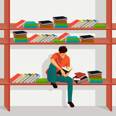 Man Reading Book and Sitting on Bookshelf in Library. I love reading Illustration.