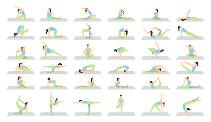 Yoga workout for women set on white background. Different poses and asanas.