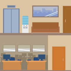 Interior office room vector flat design