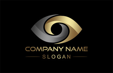 eye icon in gold and metal