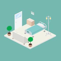 Isometric hospital design interior vector illustration