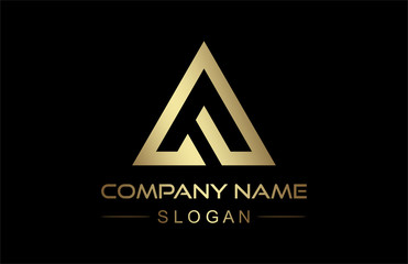 logo letter f triangle line in gold and metal steel