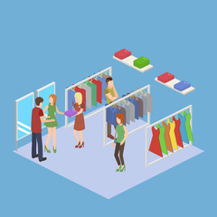 Shopping in clothes store. Shopping Center isometric vector illustration