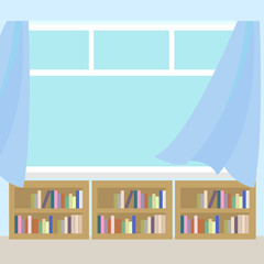 Library interior in the flat style vector icon