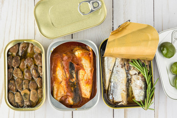 Assorted canned fish.