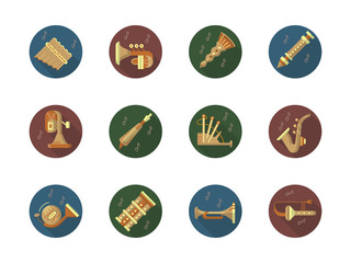 Round color vector icons set for music instruments