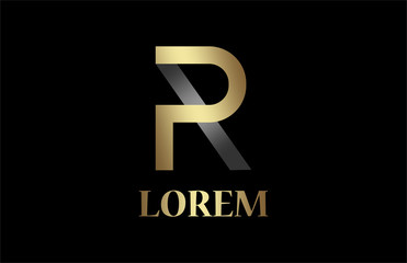 logo letter p and r in gold and metal color