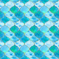Quatrefoil. Watercolor seamless pattern