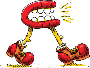 A cartoon of a mouth with legs walking and talking.