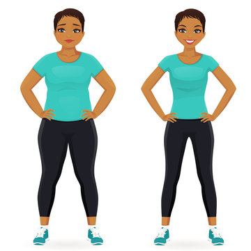 Fat and slim woman, before and after weight loss in sportswear isolated