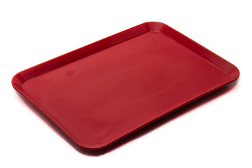 Empty Red Plastic Food Container