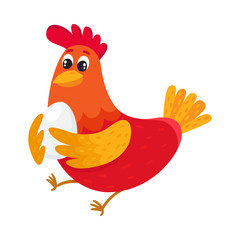 Funny cartoon red and orange chicken, hen standing and holding egg, cartoon vector illustration isolated on white background. Cute and funny colorful chicken, fire rooster