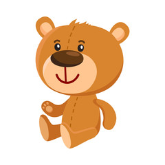 Cute traditional, retro style teddy bear character sitting, cartoon vector illustration isolated on white background. Teddy bear character, favorite toy from childhood
