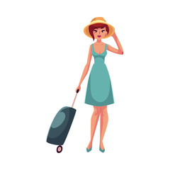 Young pretty woman in blue dress with suitcase, cartoon illustration isolated on white background. Full length portrait of beautiful girl, woman traveler with luggage, suitcase