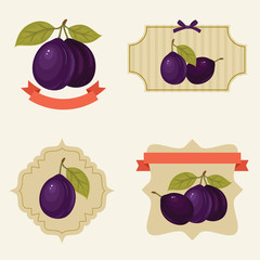 Plums labels and tags