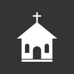 Church sanctuary vector illustration icon. Simple flat pictogram for business, marketing, mobile app, internet on black background.