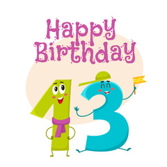 Happy birthday vector greeting card, poster, banner design with cute and funny thirteen number characters. thirteen smiling characters, happy birthday greeting card template