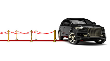 Red Carpet SUV / 3D render image representing an luxury SUV at the end of a red carpet
