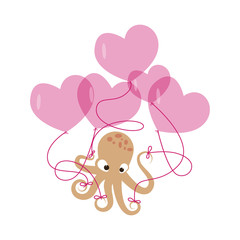 Valentines day banner with cute octopus with balloons made out of heart. Vector illustration.