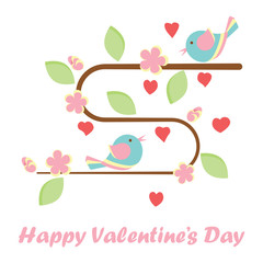 Valentines day banner with cute birds and a tree made out of heart. Vector illustration.