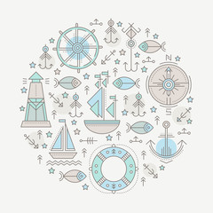 Vector illustration with outlined nautical seafaring signs and marine animals
